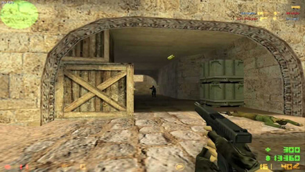 Counter-Strike 1.6 gameplay screenshot (terrorist with glock de_dust2 near ct base attacking Counter-Terrorist) you can DOWNLOAD Counter-Strike 1.6 game absolutely free from our web page.