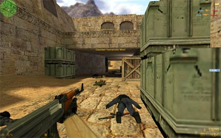 Counter-Strike 1.6 gameplay screenshot number two (terrorist with AK-47 rifle gun) lets download cs from CS-Games.lt, our cs 1.6 client is free of virus and have max fps (frames per second) who will increase your skill and game quality.