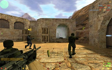 Counter-Strike 1.6 gameplay screenshot number three (Counter-Terrorists attacking terrorist and tries to save a plant). Counter-Strike 1.6 download - You can download this game from a direct link or uTorrent, if you want download it from a direct link just click on CS 1.6 DOWNLOAD or COUNTER-STRIKE 1.6 DOWNLOAD button/link.