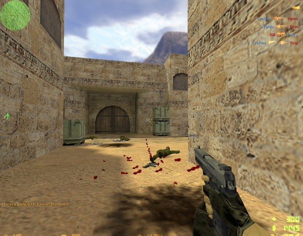 Counter-Strike 1.6 gameplay screenshot number four (Counter-Terrorist killed terrorist with headshot from USP on 1st round). You can download CS 1.6 torrent using uTorrent application, with uTorrent you will get max. download speed and you also can pause/resume cs 1.6 torrent download whenever you want - Just click on Download Counter-Strike 1.6 torrent. button.